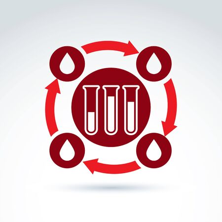 blood drop: Donor blood and Circulatory system icon, test tube, virus, epidemic, vector conceptual stylish symbol for your design. Illustration