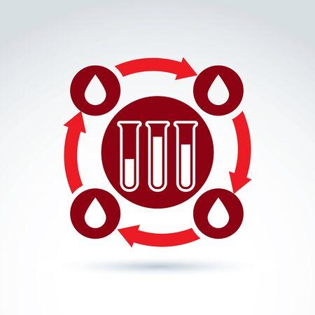 donor: La sangre de los donantes y el icono del sistema circulatorio, tubo de ensayo, virus, epidemia, vector s�mbolo de estilo conceptual para su dise�o. Vectores