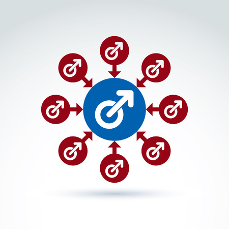 man and woman sex: Blue male and red female signs connected with arrows, gender symbols. Group sex conceptual icon, relationship concept.