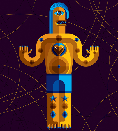 mythological character: Flat design drawing of odd character, art picture made in cubism style. Vector colorful illustration of spiritual totem isolated on art background. Illustration