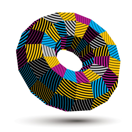 stripy: 3D vector abstract technology illustration, geometric unusual stripy object. Origami bright three-dimensional shape.