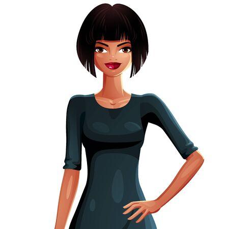 upper body: Beautiful tanned woman, upper body portrait.