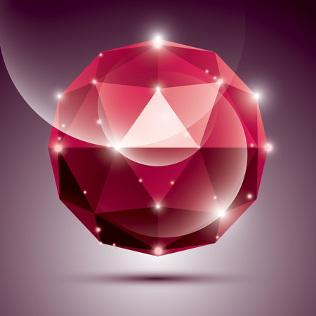 red sphere: Abstract 3D red shiny sphere with sparkles, ruby glossy orb created from triangles Illustration