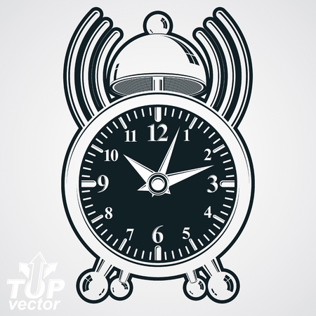 clang: Alarm clock vector 3d monochrome illustration with podcast sign, wake up conceptual icon. Graphic retro dimensional clock with clang bell isolated on white background.