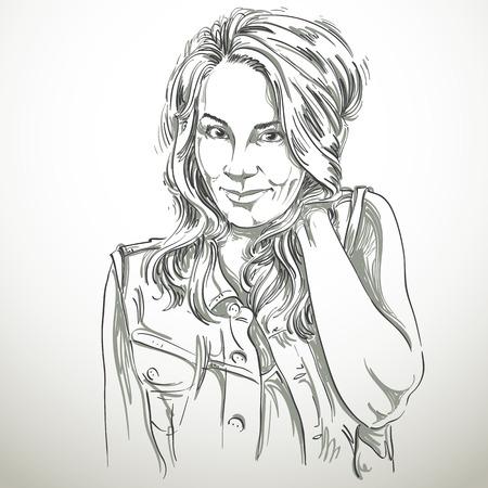 flirting: Vector art drawing, portrait of gorgeous flirting girl isolated on white.