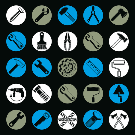 mallet: Stylized industrial icons, 3d work tools collection. Set of vector repair instruments, manufacturing and construction utensil.