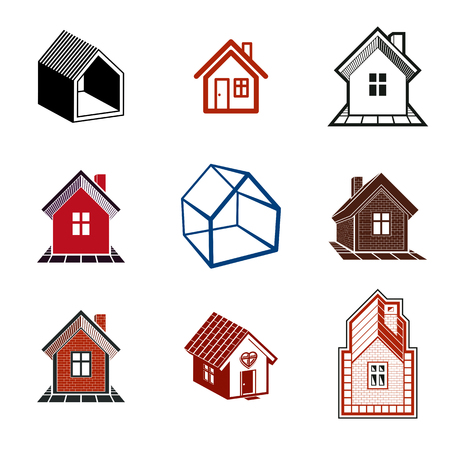 corporative: Simple cottages collection, real estate and construction theme. Houses vector illustration with heart symbol.