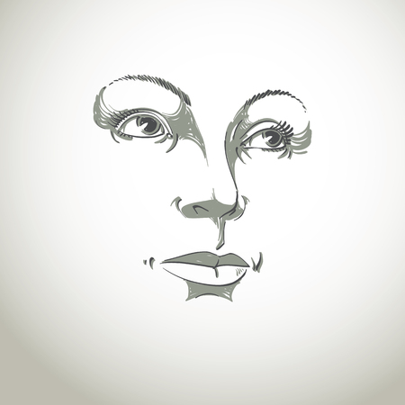 Black and white illustration of lady face, delicate visage features. Eyes and lips of a woman expressing positive emotions.