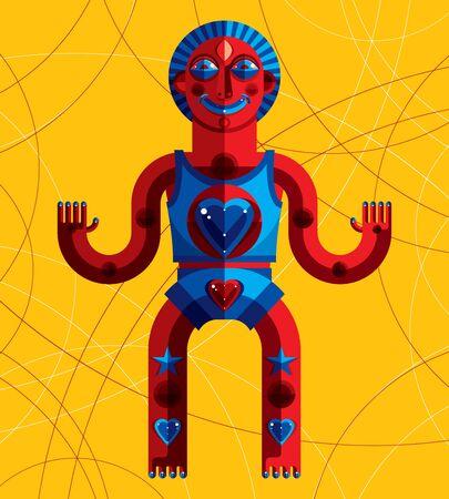cubismo: Ilustraci�n del vector del avatar modernista bizarro, imagen tema cubismo. Dibujo colorido de t�tem espiritual, fant�stica cham�n aislado en el fondo decorativo.