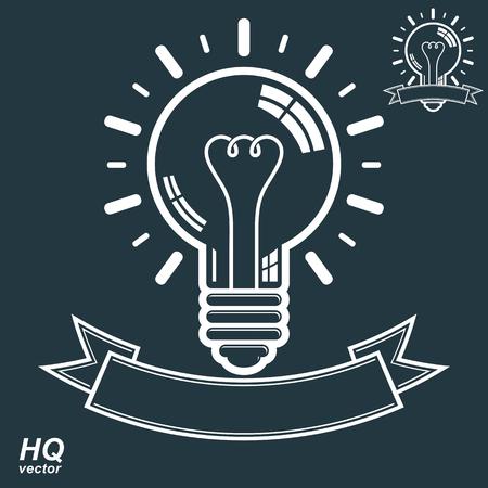 insight: Electricity light bulb symbol, insight emblem.  Illustration