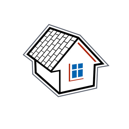 designed: Simple village mansion icon, vector abstract house. Country house, conceptual sign best for use in graphic and web design.