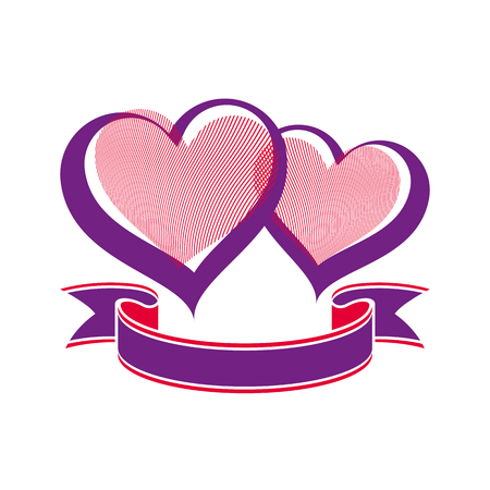 loving: Valentine's day conceptual illustration – two loving hearts with decorative ribbon. Wedding couple romantic element, best for use in graphic design.