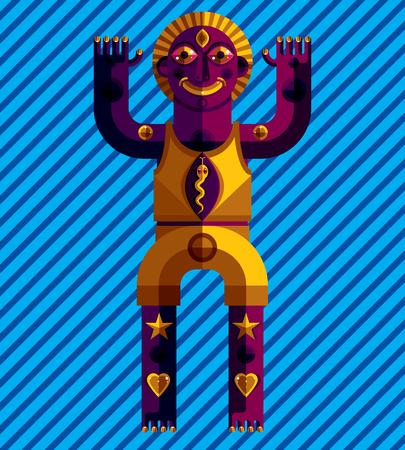 cubismo: Piso de diseño de dibujo de caracteres impares, cuadro del arte hecho en estilo del cubismo. Vector la ilustración de colores de tótem espiritual aislado en el fondo artístico.