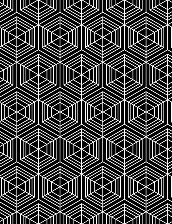 intertwine: Geometric seamless pattern, endless black and white vector regular background. Abstract covering with cubes and squares.