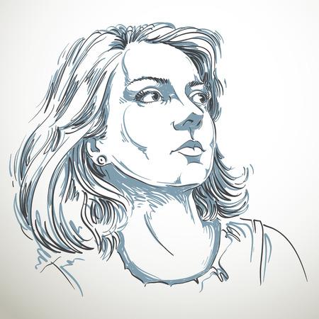 face expressions: Ilustraci�n de piel blanca atractiva dama rom�ntica dise�ada a mano gr�fico vectorial con un elegante corte de pelo. Las personas se enfrentan a expresiones. Modelo so�adora posando para el retrato. Vectores