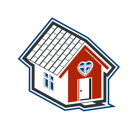 idealistic: Family house abstract icon, harmony at home concept. Simple building,real estate business, architecture theme vector symbol for use in graphic design.