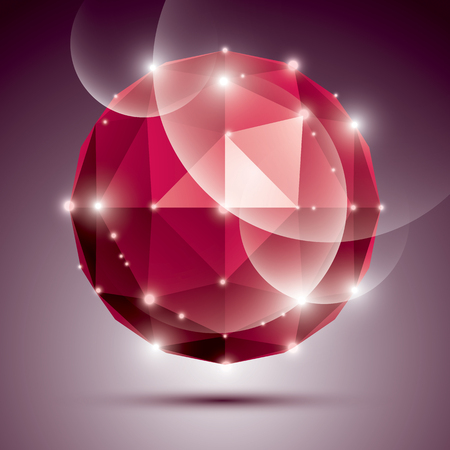 ruby stone: Abstract 3D ruby twinkle sphere with sparkles, red precious stone