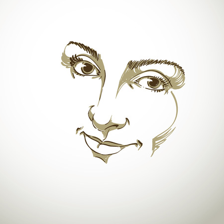 facial features: Facial expression, hand-drawn illustration of face of delicate good-looking girl with positive emotional expressions. Beautiful features of lady visage.