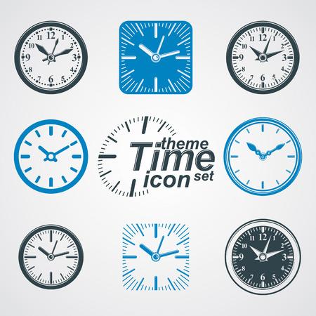 reloj de pared: Relojes de pared simple del vector con las agujas del reloj estilizada.