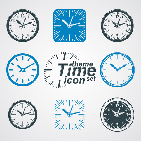 clockwise: Simple vector wall clocks with stylized clockwise.