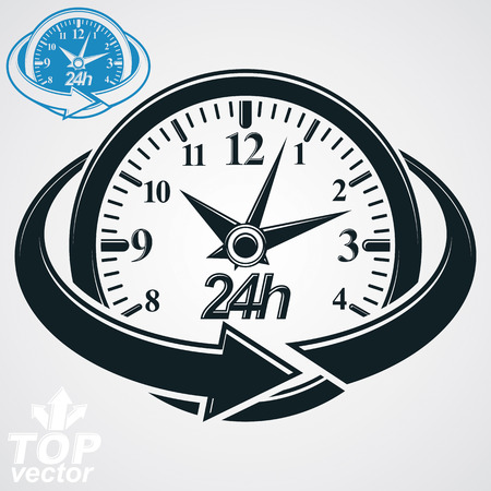 24 hours: 3d vector round 24 hours clock