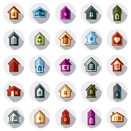 Colorful different houses icons  Illustration