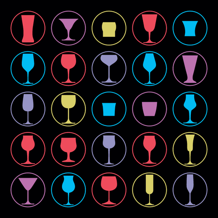 revelry: Decorative drinking glasses collection. Set of vector goblets, simple glassware, can be used in graphic and web design.