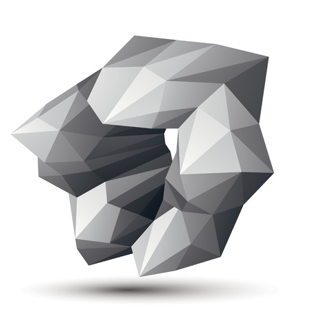spatial: Asymmetric 3D abstract object, monochrome geometric spatial form. Render and modeling. Illustration