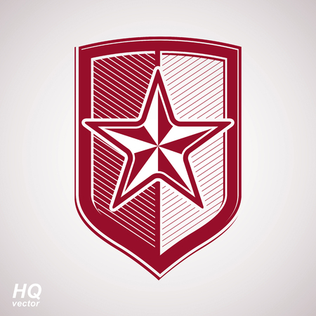 Vector shield with a red pentagonal Soviet star, protection heraldic blazon. Communism and socialism conceptual symbol. Ussr design element.