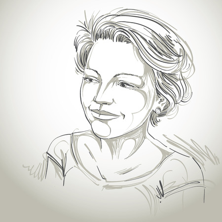woman short hair: Hand-drawn vector illustration of beautiful romantic woman. Monochrome image, expressions on face of young lady with short hair. Illustration