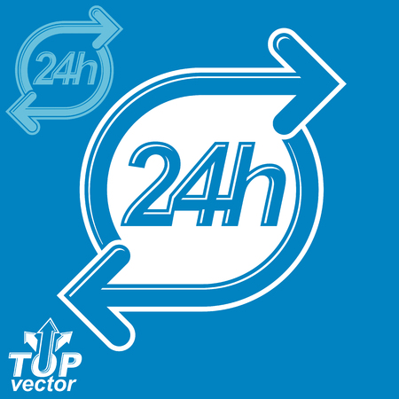 24 hours: 3d vector 24 hours graphic symbol with invert version. Twenty-four hours a day conceptual element. Time management idea pictogram.