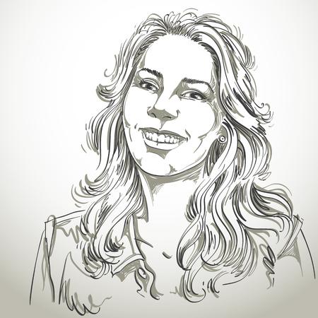 face expressions: Ilustraci�n de piel blanca atractiva dama sonriente feliz dise�ada a mano gr�fico vectorial con el pelo ondulado largo y elegante corte de pelo. Las personas se enfrentan a expresiones. Presentaci�n modelo para el retrato.