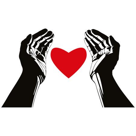 heart symbol: Hand with heart vector symbol. Illustration