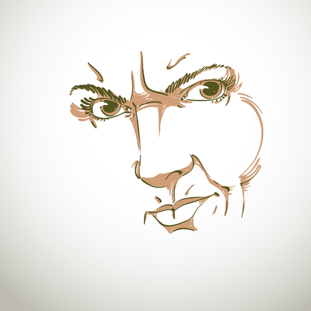 wrinkle: Hand-drawn illustration of woman face, black and white mask with emotions. Features of angry girl with wrinkles on her forehead, posing for portrait.