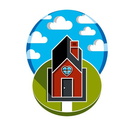 harmony idea: Simple house vector illustration with pathway leading to it. Family harmony at home, love and relationship idea. Building with heart symbol. Illustration