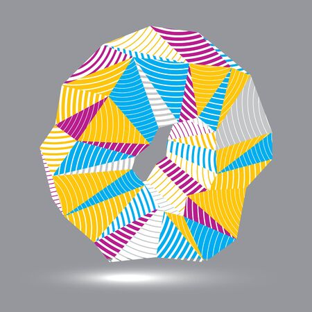cybernetic: 3D contemporary style abstract stripy vector object, cybernetic futuristic form. Technology idea.
