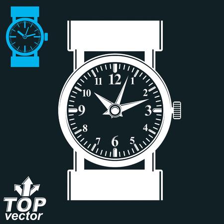 on white: Vector white wristwatch illustration