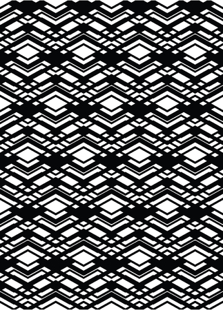 interweave: Monochrome geometric art seamless pattern, vector mosaic black and white interweave background. Symmetric illusive artificial backdrop. Illustration