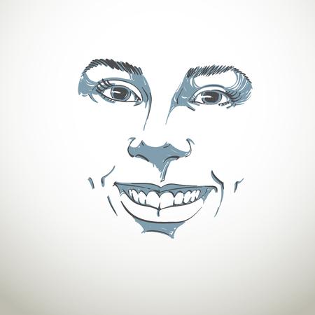 temperamento: La expresi�n facial, dibujado a mano ilustraci�n de la cara de una ni�a con expresiones emocionales positivas. Hermosas caracter�sticas del rostro de la se�ora.