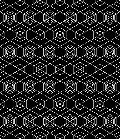 охватывающей: Geometric seamless pattern, endless black and white vector regular background. Abstract covering with cubes and squares.