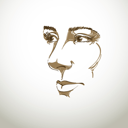 visage: Vector art drawing, portrait of gorgeous dreamy girl isolated on white. Facial expressions, people positive emotions. Caucasian melancholic woman, visage features.
