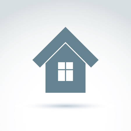 depiction: Vector home illustration, real estate icon. Touristic sign, monochrome house depiction. Illustration