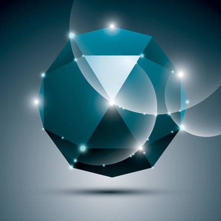 dazzling: 3D blue shiny sphere. Vector fractal dazzling abstract illustration