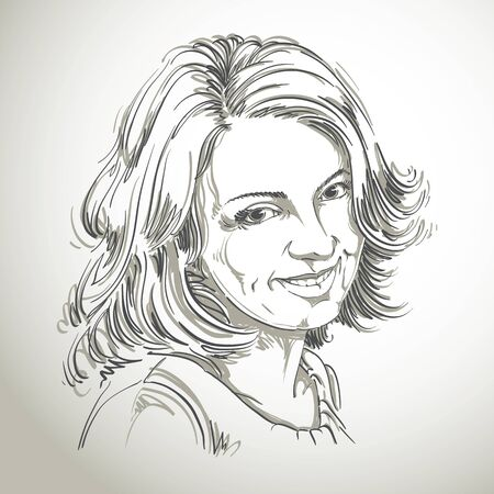 stylish woman: Vector drawing of smiling sincere woman with stylish haircut. Black and white portrait of attractive happy satisfied lady. Model posing.