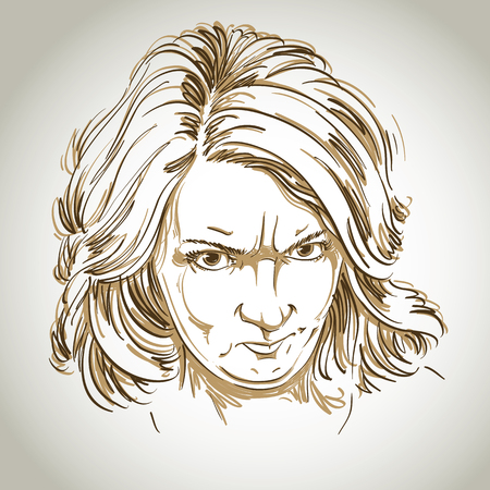 serious: Vector portrait of angry woman with wrinkles on her forehead, illustration of good-looking but irate female. Person emotional face expression. Illustration