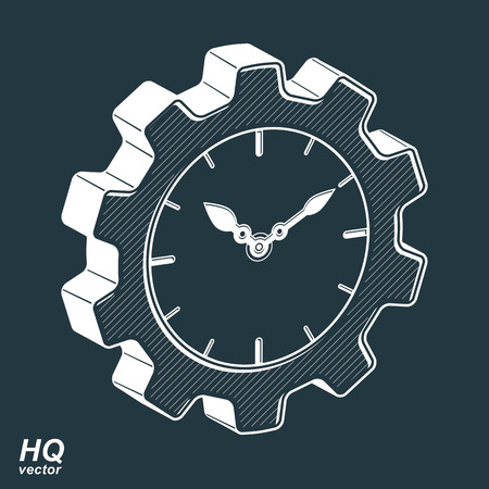 cog wheel: Vector 3d retro cog wheel and clock with an hour hand