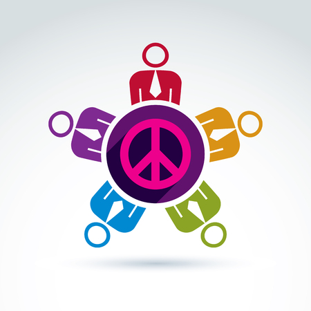 no integrity: Illustration of a group of people standing around a peace sign, hippy community. Harmony and freedom conceptual icon. International conference on peace theme.