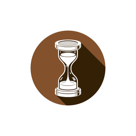 interim: Time without end conceptual icon, web design element. 3d vector antique hourglass isolated on white. Time management idea.