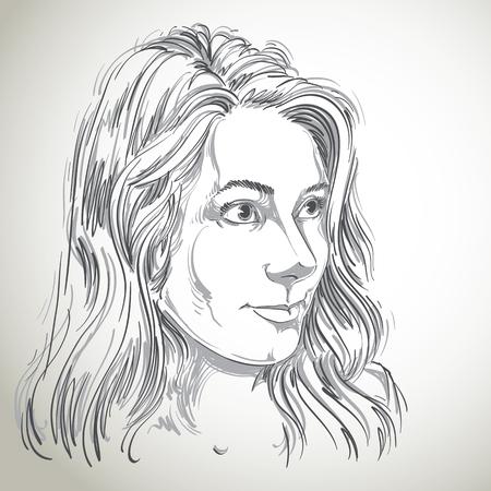 pelo ondulado: Vector atractivo retrato de mujer de raza cauc�sica con el pelo largo y ondulado, ejemplo de buen aspecto femenino. Persona emocional expresi�n de la cara.