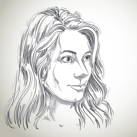 the caucasian: Vector portrait of attractive Caucasian woman with long wavy hair, illustration of good-looking female. Person emotional face expression.